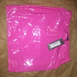 Pink latex skirt